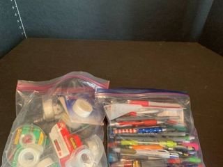 Bags of tape and pens
