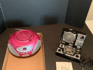 CD player and travel radio with headphones