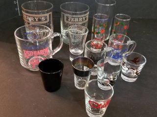 Assorted shot glasses and glasses