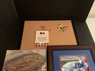 Cork board and racing pictures