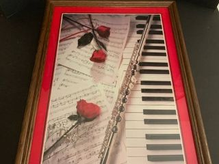 Piano and roses picture 31 x 23