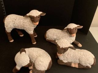Set of four ceramic lambs