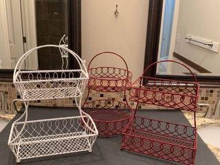 Set of three wire shelves