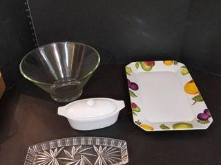 Glass bowl  platter  relish and gravy boat