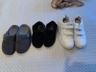 Two pairs ladies shoes size 8 and one pair mens size 12