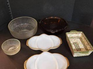 Fire King baking dish  relish tray and bowls