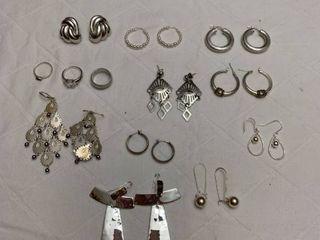 Set of ten pierced earrings and three rings