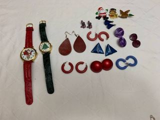 Set of ten pierced earrings  three pins and two Christmas watches