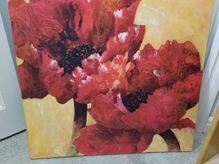 Poppy flower signed print on canvas 36 x 36