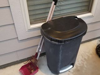 Trash can and pooper scooper