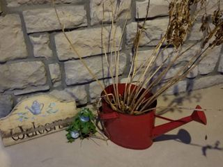 Red watering can  welcome sign and frog