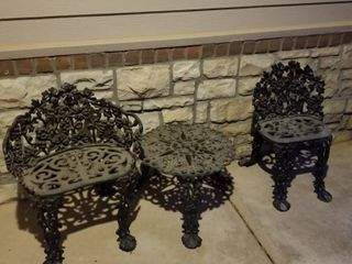 Iron chairs 26 x 22  27 x 17 and table 14 x 20