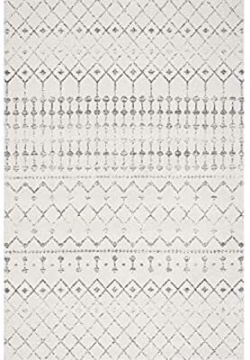 nulOOM Moroccan Blythe Area Rug  5  7  x 5  Grey Off white