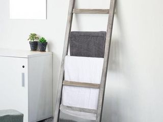 Mygift 4 Rung Solid Wood Wall leaning Towel or Blanket ladder Rack with Magazine Holder Basket Organizer Slot