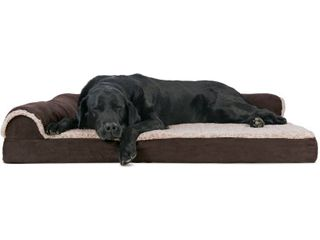 FurHaven Pet Dog Bed Deluxe Orthopedic Faux Fur   Suede l Shaped Chaise Couch Pet Bed for Dogs   Cats  Espresso  Jumbo