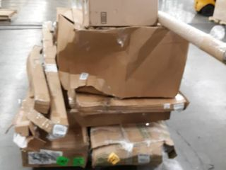 Pallet of Assorted Multiples Contains Cabinets  Bed Frames  Poster Frames and More