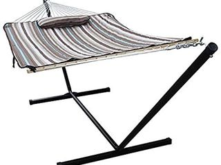 HENG FENG 2 Person Double Hammock with 12 Foot Portable Steel Stand and Spreader Bar  Detachable Pillow and Pad  Havana Brown