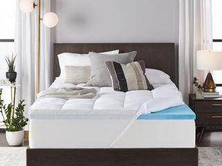 Sleep Innovations 4 Inch Dual layer Mattress Topper   Gel Memory Foam and Plush Fiber  10 year limited warranty  Full Size