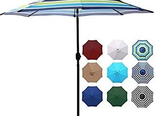 Blissun 9  Outdoor Aluminum Patio Umbrella  Striped Patio Umbrella  Market Striped Umbrella with Push Button Tilt and Crank  Blue and Green
