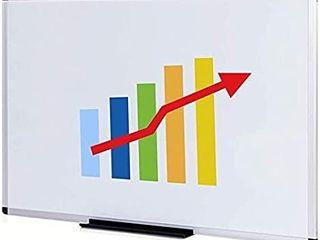 VIZ PRO Magnetic Whiteboard Dry Erase Board  48 X 36 Inches  Silver Aluminium Frame