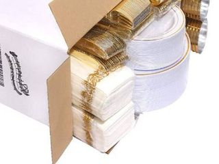 Gold Glitter Plastic Plates With Disposable Silverware Cups Dinnerware Sets For Wedding Parties