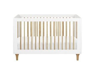 Babyletto lolly 3 in 1 Convertible Crib with Toddler Rail   White Natural