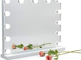 GeekHouse lighted Vanity Mirror Hollywood Style Makeup Tabletops  large Cosmetic Mirror with 13 x 3W Super Bright Dimmable Touch Control lED Bulbs  White