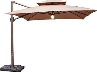 Abba Patio 9 x 12 Feet Offset Cantilever Solar lights Patio Hanging Umbrella with Cross Base  Cocoa