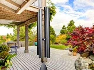 Epartswide large Wind Chimes Outside Deep Tone 44  Memorial Wind Chimes Outdoor with 4 Heavy Tubes Soothing Melody Wind Chimes large Sympathy Gift for Mom Patio Hanging Decor Black