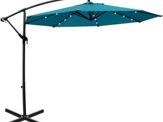 Mefo garden 10ft Solar Patio Outdoor Umbrella Offset Cantilever Hanging Umbrella 360 Degree Rotation with 24 lED lights and Heavy Duty Steel Cross Base