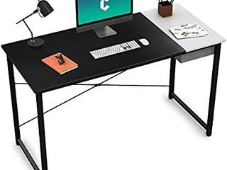 Cubiker Computer Desk 55  Home Office Writing Study laptop Table  Modern Simple Style Desk with Drawer  Black White