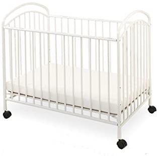 lA Baby Classic Arched Compact Size Metal Non Folding Crib  White