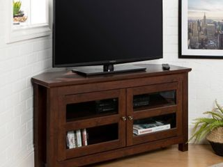 Walker Edison 44 Inch Corner Wood TV Console  Traditional Brown