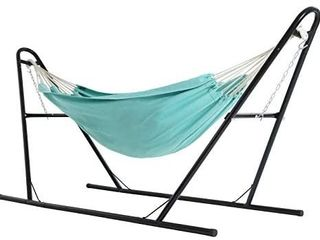 SONGMICS Double Hammock with Stand  82 7 x 59 1 Inches  Sturdy Double Rail Iron Frame with Extended Feet  Max  load 550 lb  for Garden  Outdoor  Turquoise UGHS11BU
