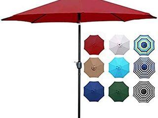 Blissun 9ft Patio Umbrella  Manual Push Button Tilt and Crank Garden Parasol  Red