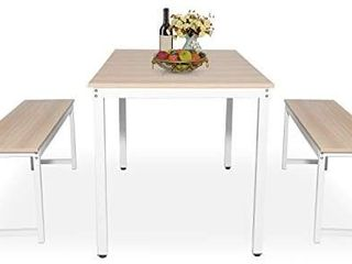 Hooseng Dining Room  3 Pieces Farmhouse Kitchen Table Set with Two Benches  Metal Frame and MDF Board  Modern Furniture for Home  Cafeteria  Apartment and Farm House  Beige White