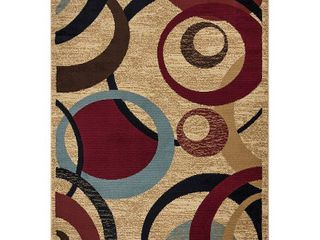 Royal Collection Beige Contemporary Abstract Circle Design Area Rug  5 3 X7 0