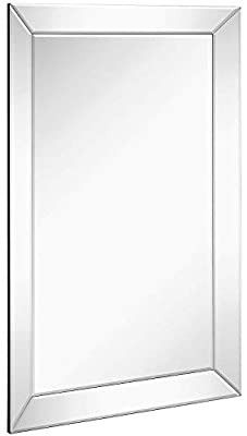 Hamilton Hills large Framed Wall Mirror with Angled Beveled Mirror Frame Premium Silver Backed Glass Panel Vanity Bedroom or Bathroom luxury Mirrored Rectangle Hangs Horizontal or Vertical