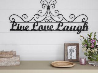 lavish Home Metal Cutout live laugh love Wall Sign 3d Word Art Home Accen