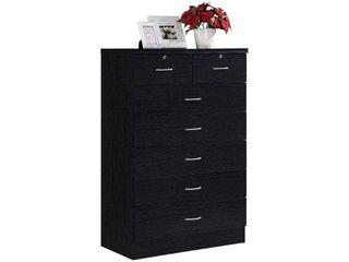 7 Drawer Chest with lock On 2 Top Drawers Black   Hodedah