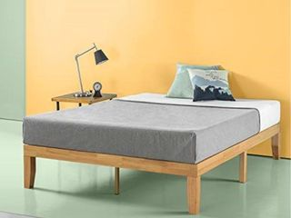 Zinus Moiz 14 Inch Wood Platform Bed   No Box Spring Needed   Wood Slat Support   Natural Finish  Queen