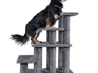 FurHaven Pet Stairs Steady Paws 4 Step Pet Stairs  Gray