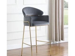 Grey   Brass Arched Back Counter Height Bar Stool