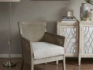 Madison Park Blaine Cream Natural Reclaimed Woodfinish Rattan Rubberwood Accent Chair