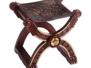 Handmade Baroque Claw Foot leather and Wood Accent Stool