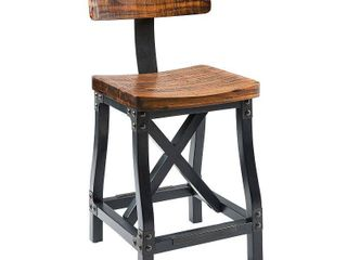 INK IVY lancaster Amber  Graphite Counter Stool with Back