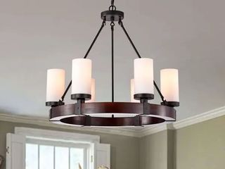 Daniela Antique Black 6 light Round Wood Chandelier with Frosted Glass