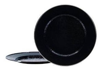 Golden Rabbit Set of 4 Solid Black Chargers Plates