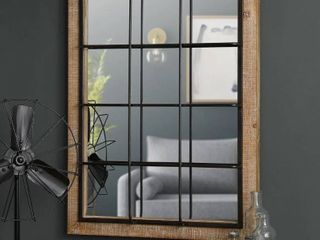 Glitzhome 32 H Farmhouse Wooden Metal Windowpane Wall Mirror   32