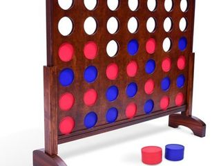 GoSports Giant Dark Wood Stain 4 in a Row Backyard Game a 3 Foot Width a With Connect Coins  Portable Case and Rules